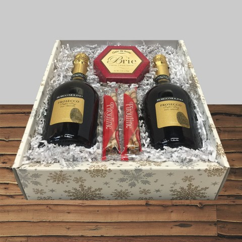 BORGO MOLINO PROSECCO DOC 2-BOTTLE GIFT BOX & GOURMET SNACKS